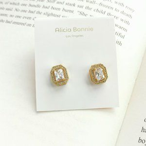 Alicia Bonnie rectangle pave gold cz stud earrings